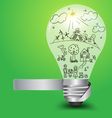 Creative light bulb with happy family and ecology vector image