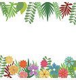 flowers foliate border with leaves blossom garden vector image
