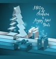 merry christmas card with tree made from paper vector image