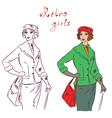 retro girls vector image