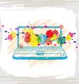 handwriting sketch computer and ink splash vector image