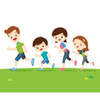 Cute family runing together vector image