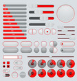 set of interface buttons red and gray collection vector image