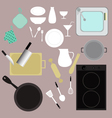 kitchen kitchenware equipment set vector image