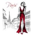 woman walking in Paris vector image vector image