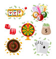 big set of flat style casino gambling symbols vector image