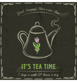 Brown blackboard with a teapot and text vector image