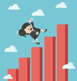 business woman falling down graphic chart vector image