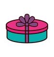 gift box ribbon purple bow round vector image