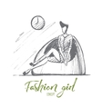 Hand drawn stylish girl in dress sitting on chair vector image