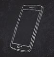 Handdrawn sketch of mobile phone outlined on vector image
