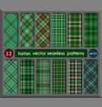 set in green tartan seamless pattern background vector image