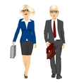 young business man and woman walking forward vector image