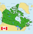 canada map with regions and their capitals vector image