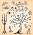 Vintage Halloween Hand Drawn Set Four vector image vector image