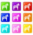 toy horse set 9 vector image