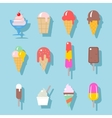 Ice cream icons set in flat style vector image