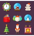 New Year and Christmas flat design icons vector image vector image