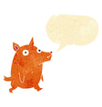 cartoon funny little dog with speech bubble vector image