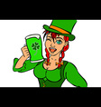 Beautiful leprechaun girl with beer and smoking vector image