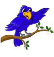 blue bird cartoon character sitting on a branch vector image