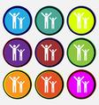 happy family icon sign Nine multi colored round vector image