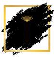 lawn rake sign golden icon at black spot vector image