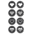 Love pixelated hearts retro labels set - vector image