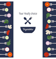 Pieces of vegetables on forks vector image