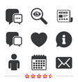 social media icons chat speech bubble and mail vector image