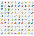100 firm icons set isometric 3d style vector image