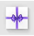White Square Gift Box with Purple Bow and Ribbon vector image