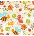 Cute bugs colorful seamless pattern vector image