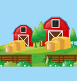 farm scene with two barns in farm vector image
