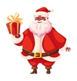 African american flat santa holds christmas gift vector image
