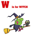 Witch cartoon with letter vector image