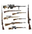firearm set gun rifle carbine flat design vector image