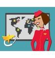 Stewardess welcomes aboard aircompany vector image
