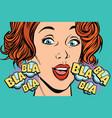 beautiful woman bla bla vector image