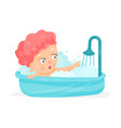 cute cartoon baby taking a shower bathing vector image
