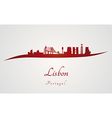 Lisbon skyline in red vector image
