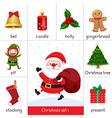 Printable flashcard for Christmas set and Santa Cl vector image