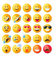 set of cute emoticons set of emoji vector image