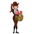 Girl-Scout-with-a-backpack vector image