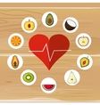 assorted healthy food and heart cardiogram icons vector image