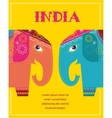 India - background with patterned elephants vector image vector image