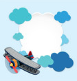 border template with airplane and blue clouds vector image