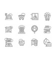 city areas flat line icons set vector image