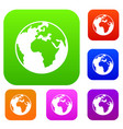 earth globe set collection vector image