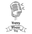 happy music day banner style vector image